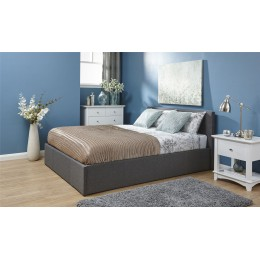 4FT Small Double Side Lift Fabric Bed 120cm Bedframe Grey