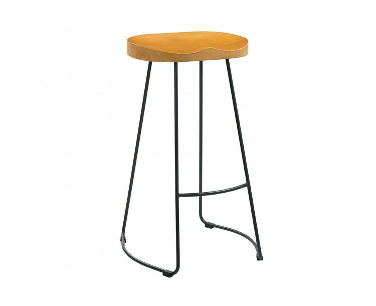 Bailey Pine Wood Seat Black Metal  Leg Bar Stool