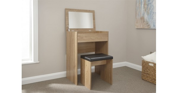 Modern Oak Compact Lift Up Mirror Dressing Table Stool Set