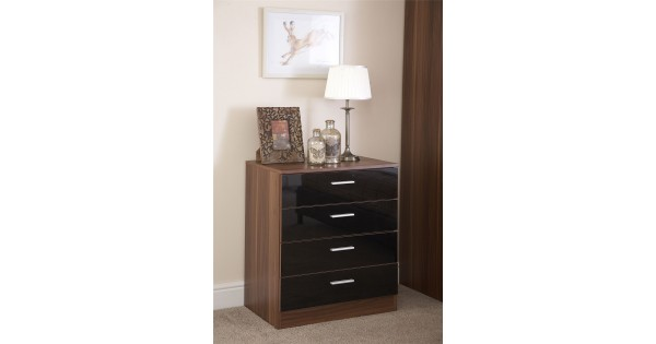 Ottawa black walnut 4 drawer high gloss chest bedroom - Walnut bedroom furniture sets uk ...