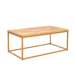 Mirelle Coffee Table Solid Oak Gold Metal Frame