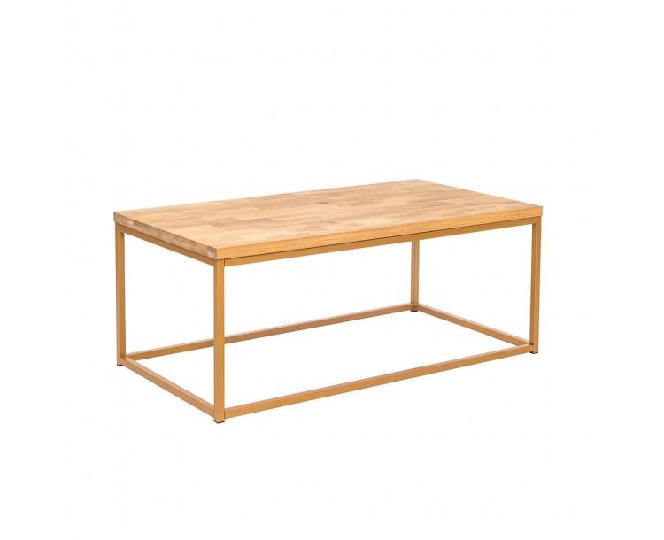 Mirelle Coffee Table Solid Oak Gold Metal Frame