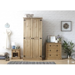 Inca Mexican 3 Piece Set 2 Door Wardrobe 3 Drawer Chest Bedside Table