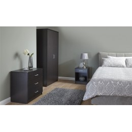 Panama 3 Piece Espresso Bedroom Furniture Set Wardrobe Chest of Drawers Bedside
