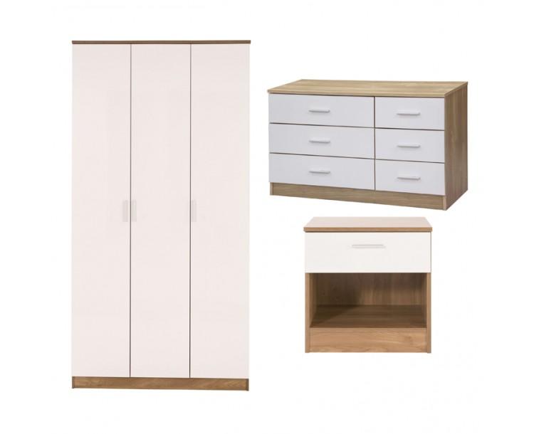 Ottawa 3 Piece Bedroom Set 3 Door Wardrobe 6 Drawer Chest Bedside Table Oak