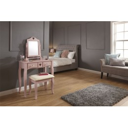 Dusty Pink Contemporary Heart 2 Drawer Mirror Dressing Table And Stool Set