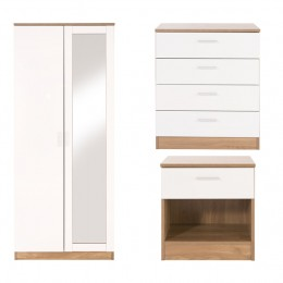 Ottawa 3 Piece Bedroom Set 2 Door Mirror Wardrobe 4 Drawer Chest Bedside Oak