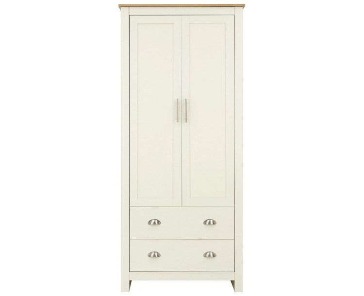 Lancaster 2 Door 2 Drawer Wardrobe Bedroom Furniture Cream