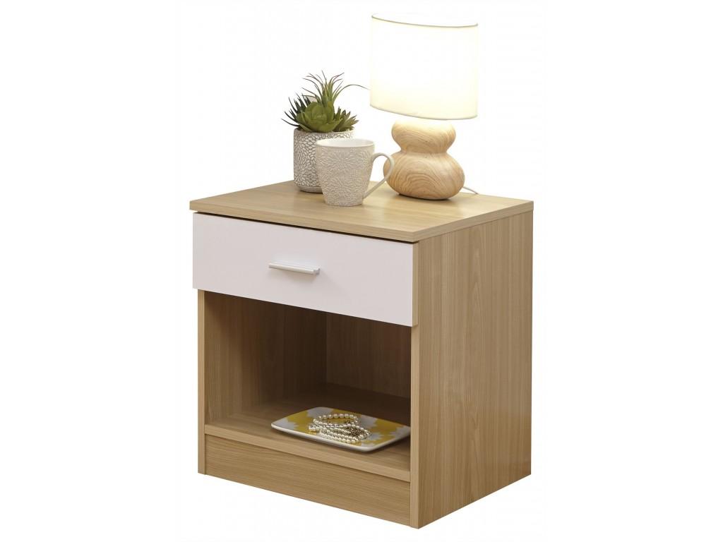 White Oak Gloss Bedroom Melbourne Bedside Table Cabinet