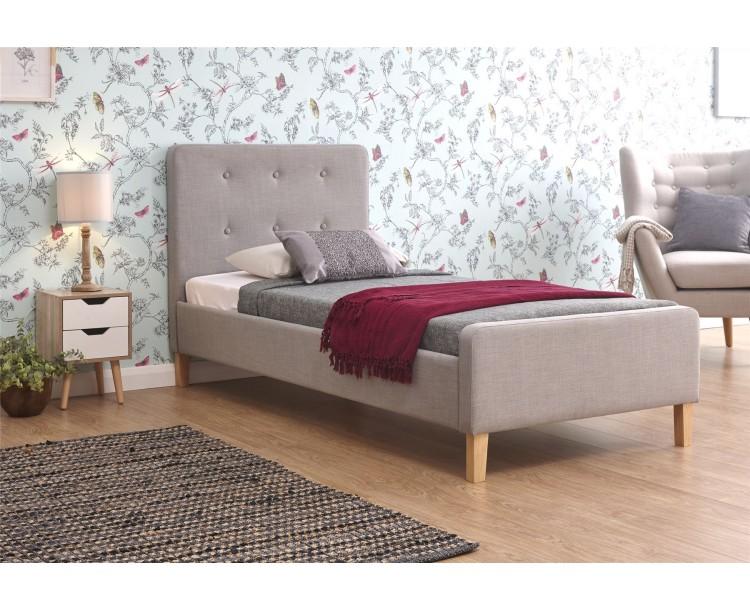 Ashbourne Light Grey Hopsack Fabric Single 3ft 90cm Bed Frame