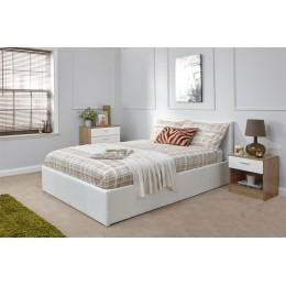 White Faux Leather 5ft Kingsize 150cm End Lift Ottoman Storage Bed Frame