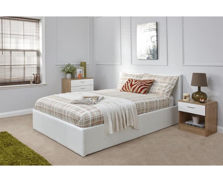 White Faux Leather 5FT Kingsize 150cm End Lift Ottoman Storage Bed Frame
