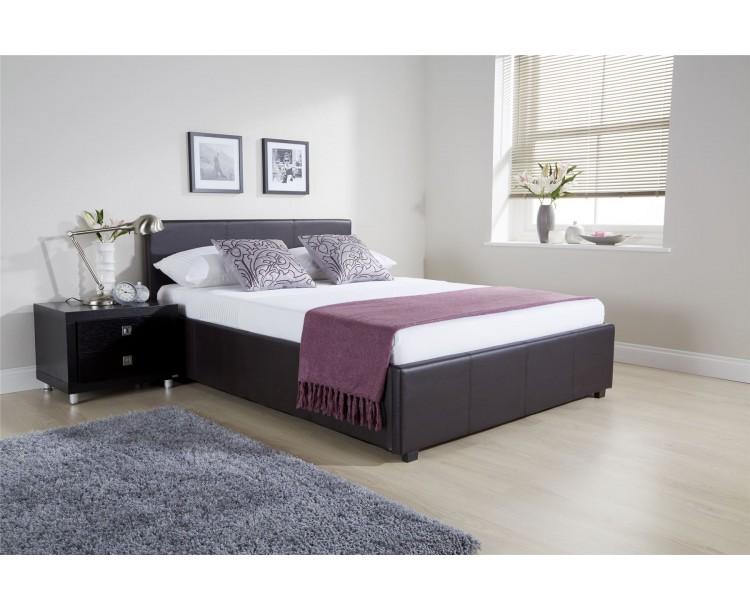 5FT Kingsize Side Lift Ottoman Bed 150cm Bedframe Brown