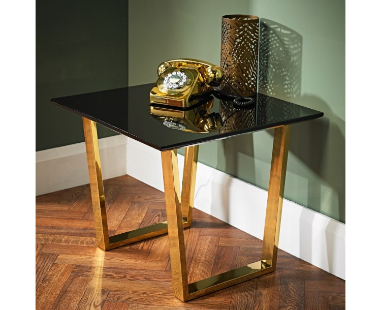 Antibes High Gloss Lamp Table with Polished Gold Legs