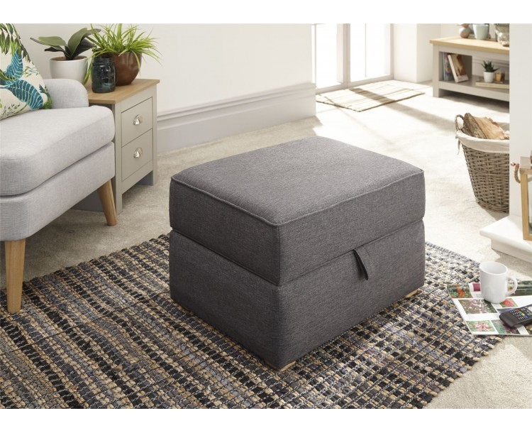 Charcoal Grey Hopsack Dauphine Square Lift Up Storage Footstool