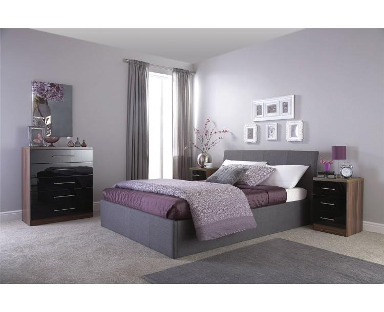 Ascot Lift Up Storage Single 3FT 90cm Ottoman Grey Fabric Bed