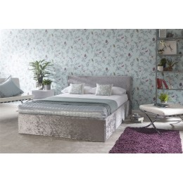 Silver Crushed Velvet 5ft Kingsize 150cm End Lift Ottoman Storage Bed Frame