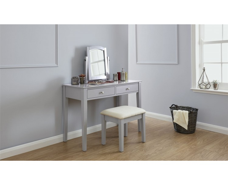 Contemporary Grey Hattie 2 Drawer Dressing Table And Matching Stool Set