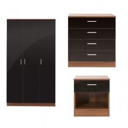 Ottawa 3 Piece Bedroom Set 3 Door Wardrobe 4 Drawer Chest Bedside Cabinet Walnut