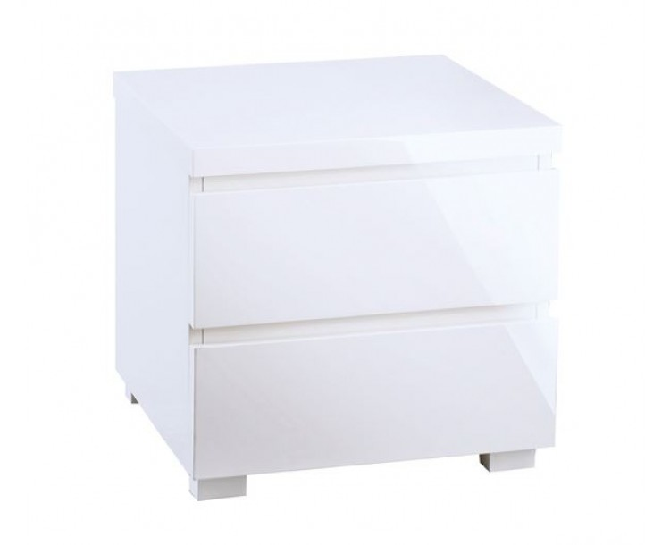 Puro White Contemporary 2 Drawer Bedside