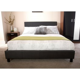 3FT Faux Leather Single Bed Frame with Headboard Black