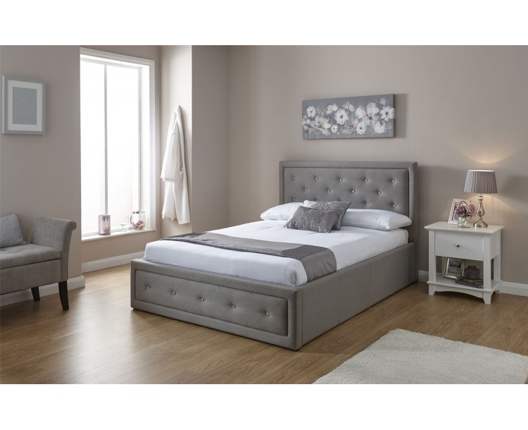 Hollywood Stone Grey Hopsack Fabric End Lift Up 4FT6 Double 135cm Bed Frame