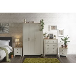 Lancaster 4 Piece Bedroom Set 3 Door Wardrobe 4 Drawer Chest Bedside Table Cream