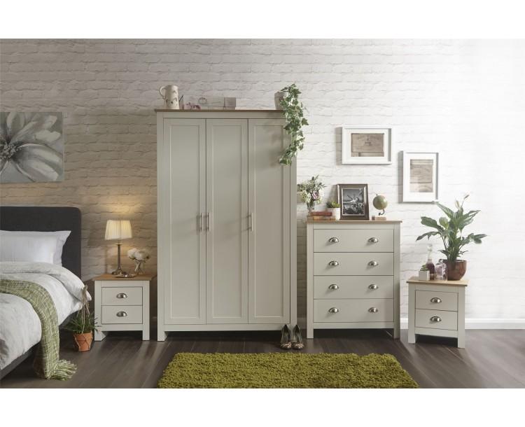 Lancaster 4 Piece Bedroom Set 3 Door Wardrobe 4 Drawer Chest Bedside Table Cream
