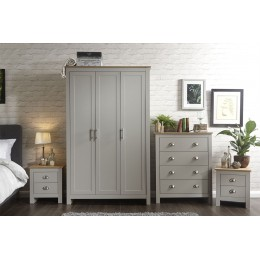 Lancaster 4 Piece Bedroom Set 3 Door Wardrobe 4 Drawer Chest Bedside Table Grey