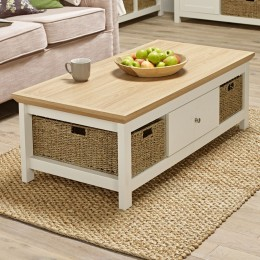 Cotswold Cream 1 Drawer 2 Storage Baskets Coffee Table