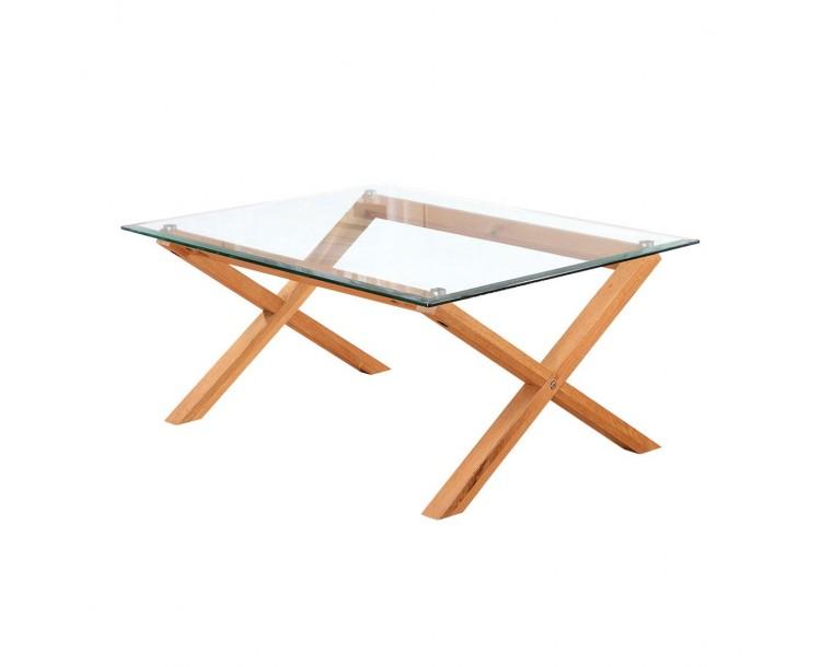 Cadiz Oak Glass Top Compact Coffee Table
