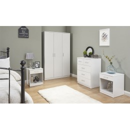 Panama 4 Piece White Bedroom Furniture Set  Wardrobe Chest of Drawers Bedside