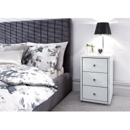 Amalfi 3 Drawer Bedside Table Cabinet White