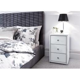 Amalfi 3 Drawer Bedside Table Cabinet White