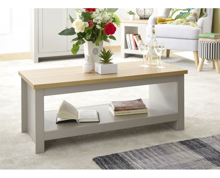 Lancaster Living Room Coffee Table with Shelf Grey
