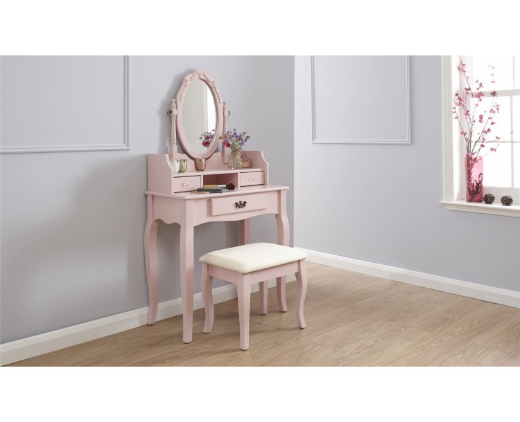 Lumberton Dresser   Stool Dressing Table Pink