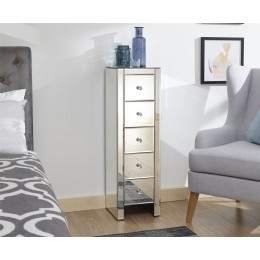 Mirrored 5 Drawer Slim Chest Clear Glass Bedroom Furniture