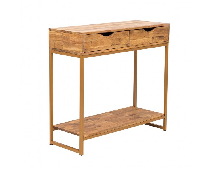Mirelle Console Table Solid Oak Gold Metal Frame