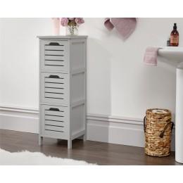 Grey Bergen Slim 3 Drawer Occasional Hallway Bathroom Storage Unit