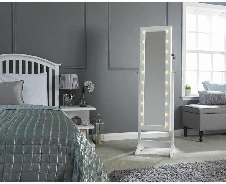LED Amore Jewellery Cabinet Bedroom Furniture White