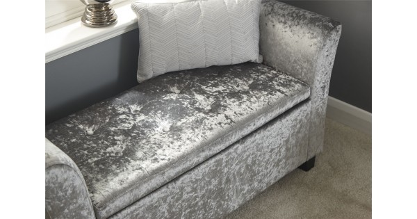 Modern Grey Crushed Velvet Verona Lift Up Storage Window Seat
