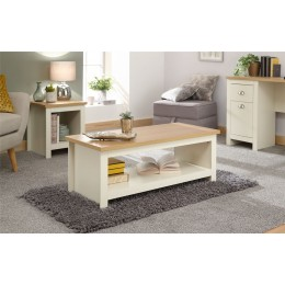 Lancaster Living Room Coffee Table With Shelf Cream