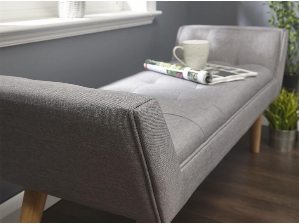 Milan Italian Grey Hopsack Upholstered Window Seat Bench