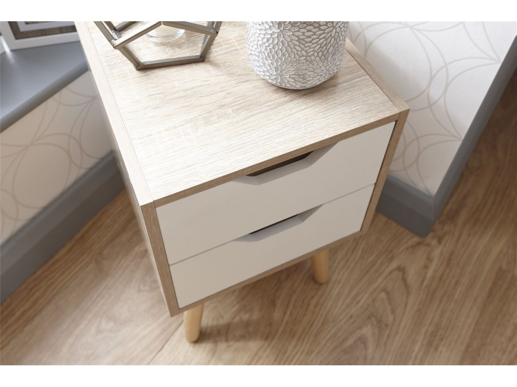 Stockholm Style White Oak 2 Drawer Nightstand Bedroom