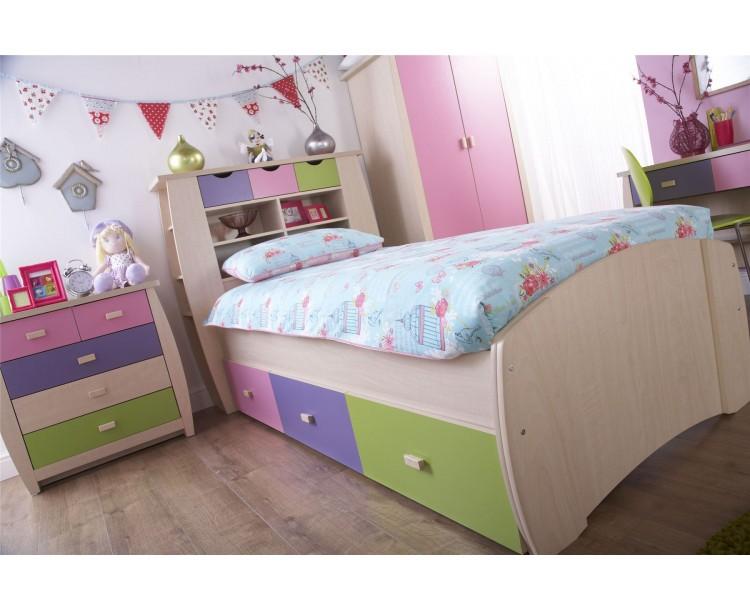 Childrens Sydney 3ft Single 90CM Bedstead Bedroom Furniture Pink