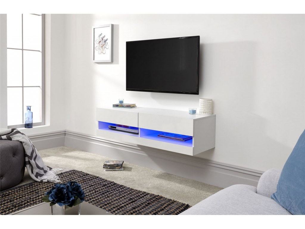 Stupendous White Galicia 120Cm Wall Tv Unit With Led Light Storage Shelf Home Remodeling Inspirations Cosmcuboardxyz