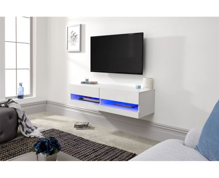 Galicia White 120cm Wall TV Unit With LED Light Living Room