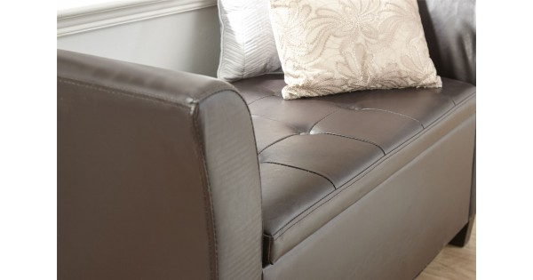 Brown Faux Leather Verona Ottoman Lift Up Storage Window Seat