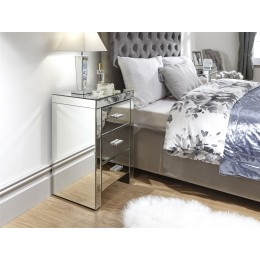 Venetian 3 Drawer Bedside Table Cabinet Clear Mirror Finish Bedroom Furniture