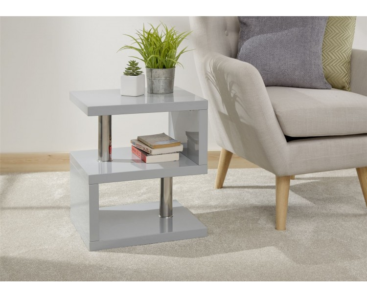 Polar High Gloss LED Side Table Grey